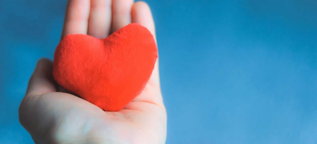 Close up shot of hand holding soft red heart on blue background